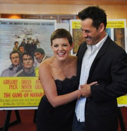 Natalie Maines and Adrian Pasdar attend the Gregory Peck first-day-of-issue stamp ceremony in Beverly Hills, California