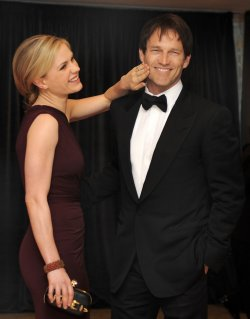 Actress Anna Paquin and husband Stephen Moyer arrive for White House Correspondent's Assoc. in Washington DC