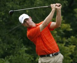 Lucas Glover tees off on the tenth hole during the first round of the 91st PGA Championship in Chaska, Minnesota