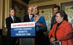 Health Secretary Sebelius, Senate Democrats discuss Medicare in Washington