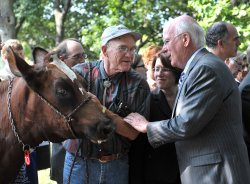 Sen. Leahy (D-VT) pets a dairy cow at a dairy farming press conference in washington
