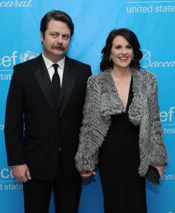 Megan Mullally and Nick Offerman attend the UNICEF Ball in Beverly Hills, California