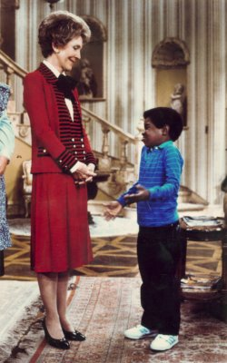 Nancy Reagan rehearses with Gary Coleman