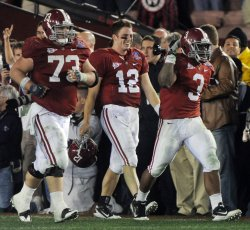Alabama celebrates fourth quarter fumble recovery during BCS in Pasadena, California