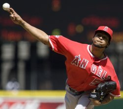 Los Angeles Angels starter Ervin Santana pitches against the Seattle Mariners.