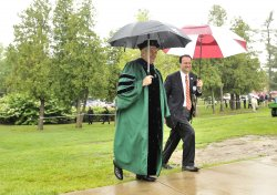 Gingrich walks with Morris at Eureka College