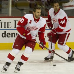 Red Wings Zetterberg and Bertuzzi Skate During Warm Ups in Denver