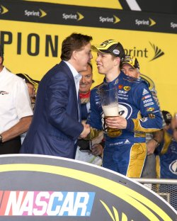 Brad Keselowski wins the 2012 NASCAR Sprint Cup Series National Championship Award at the Homestead-Miami Speedway in Homestead, Florida