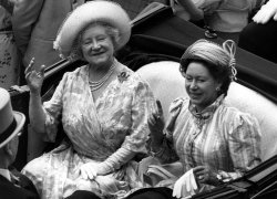 Queen Elizabeth, the Queen Mother and Princess Margaret in an open carriage.