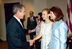 President George W. Bush greets Elizabeth Smart
