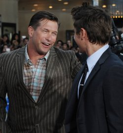 "Stephen Baldwin greets Zac Efron at the ""Charlie St. Cloud"" premiere in Los Angeles"