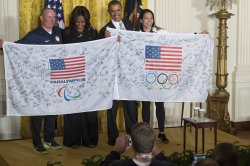President Obama welcomes members of the 2014 U.S. Olympic and Paralympic team to the White House in Washington, D.C.
