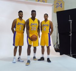 D'Angelo Russell Julius Randle and Jordan Clarkson participate in Lakers' media day