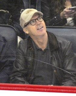 Michael Keaton at Pittsburgh Penguins Game in Pittsburgh
