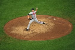 Atlanta Braves pitcher Eric O'Flaherty pitches in Washington
