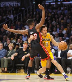 Los Angeles Lakers play Miami Heat in Los Angeles