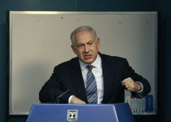 Israeli Prime Minister Netanyahu attends a news conference in Jerusalem