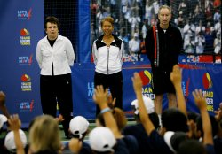 """First Lady Michelle Obama participates in """"Lets Move!"""" tennis clinic at the U.S. Open in New York"""