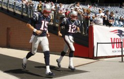 Patriots Brady and Mallett before game against Cardinals at Gillette Stadium in Foxboro, MA