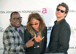 Steven Tyler, Jim Carrey and Randy Jackson attend the Elton John AIDS Foundation Oscar viewing party