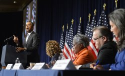 President Obama attends DNC meeting in Washington