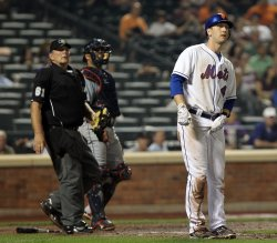 New York Mets Jason Bay stands in the baseline at Citi Field in New York