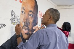 US President Barack Obama participates in service event for Martin Luther King Jr. Day