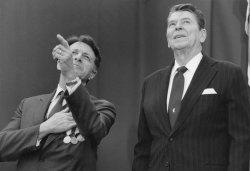 President Reagan Attends Caspar Weinberger Farewell Ceremony