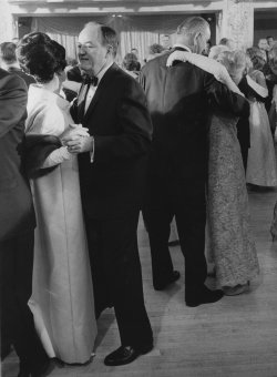 President and Mrs. Lyndon Johnson and the Humphreys dancing at an Inaugural Ball at the Mayflower Hotel