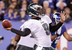 Philadelphia Eagles Vince Young throws a pass at MetLife Stadium in New Jersey