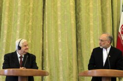 Joint press conference of Iranian Foreign Minister Salehi and Syrian Foreign Minister Walid al-Moallem in Tehran, Iran
