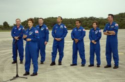 STS 114 CREW ARRIVES AT THE KENNEDY SPACE CENTER