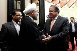 Iranian President meets with Pakistani Prime Minister Nawaz Sharif in Tehran, Iran