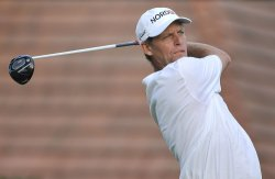 Hansen tees off on 1st hole at 93rd PGA Championship