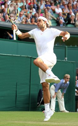 Rafael Nadal plays against Nederland's Robin Haase at the Wimbledon Championships