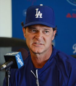 Don Mattingly participates in a news conference to announce Dodgers blockbuster trade in Los Angeles
