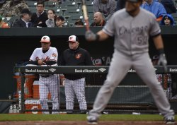 Orioles manager Buck Showalter watches against the Chicago White Sox