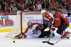 Panthers Goalie Scott Clemmensen blocks shot against Capitals in Washington
