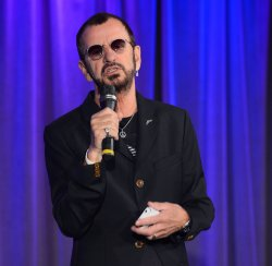 "Ringo Starr speaks with media about ""Ringo: Peace & Love"" exhibit at Grammy Museum in Los Angeles"