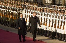 Polish PM and China PM at welcoming ceremony in Beijing