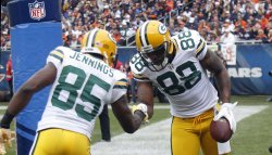 Packers tight end Jermichael Finley celebrates in Chicago