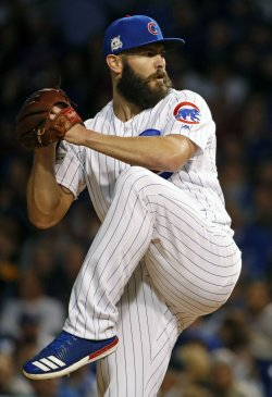 Cubs Arrieta throws in the fifth against the Dodgers in the NLCS