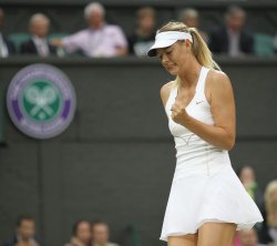 Maria Sharapova reacts at Wimbledon.