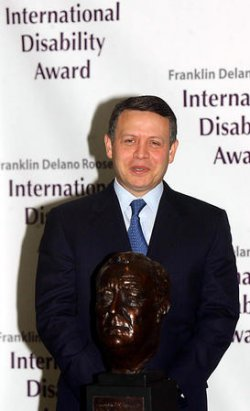 KING ABDULLAH OF JORDAN RECEIVES FDR INTERNATIONAL DISABILITY AWARD