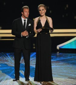 Scott Caan and Anna Paquin present an award at the 63rd annual Primetime Emmy Awards in Los Angeles