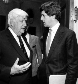 "John Kerry speaking with House Speaker Thomas ""Tip"" O'Neill."