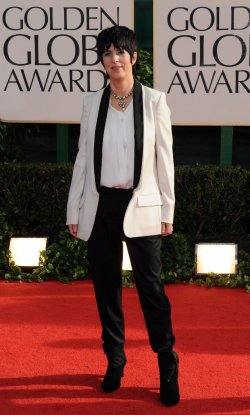 Diane Warren arrives at the 68th annual Golden Globe Awards in Beverly Hills, California
