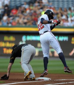 The Atlanta Braves play the Pittsburgh Pirates in Atlanta