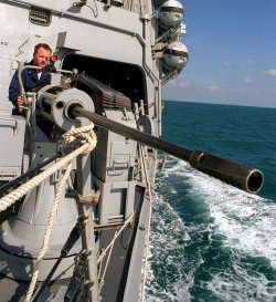 THE DESTROYER USS BENFOLD CONDUCTS MARITIME INTERCEPTION OPERATIONS IN THE GULF