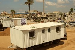 Containers as Temporary Replacements for the Houses That Were Destroyed During Israeli Offensive in Gaza